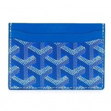 Goyard Chevron Saint Sulpice Blue Leather Card Holder