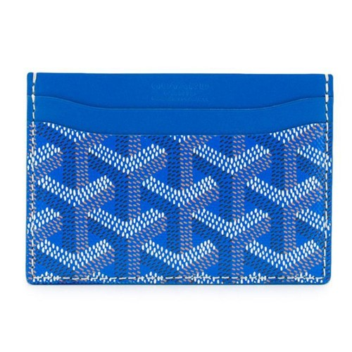 Goyard Chevron Saint Sulpice Blue Leather Card Holder