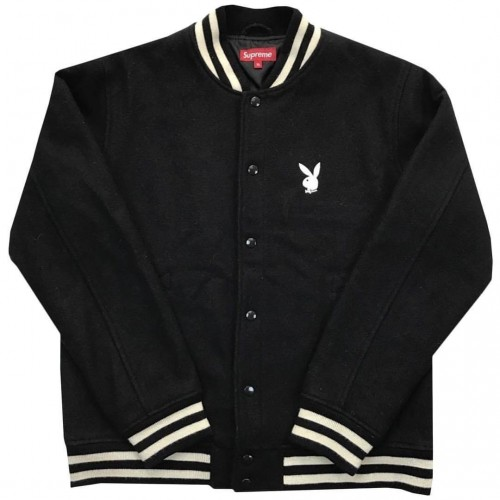 2011 Playboy X Supreme Varsity Jacket  Black