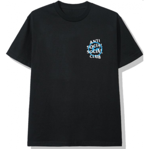 ASSC X Fragment Black Tee Blue logo