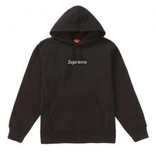 Supreme Swarovski Box logo Hoodie Black