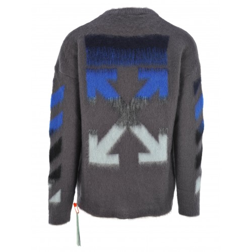 Off-White Off White Diagonal Brushed Sweater Grey