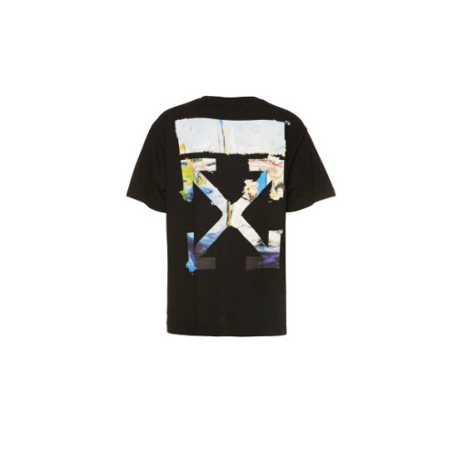 Off White Colour Painting Diagonals Arrows Tee Black