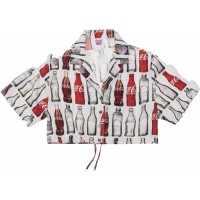 Kith x Coca Cola Bottle Print Cropped Button Up