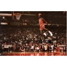 Michael Jordan Famous Foul Line Dunk Vintage Sports Poster