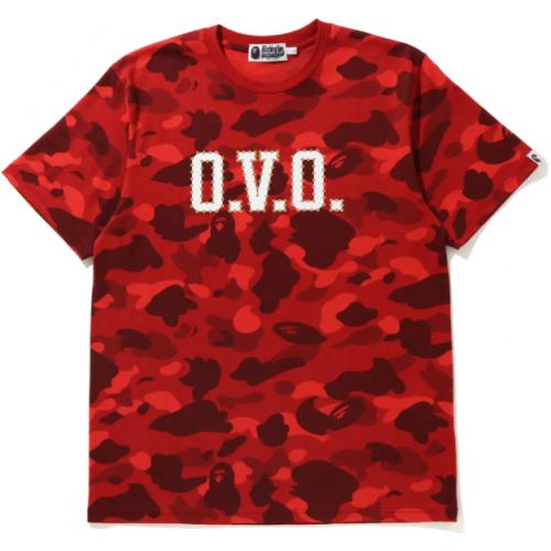 BAPE x OVO Color Camo Tee Red
