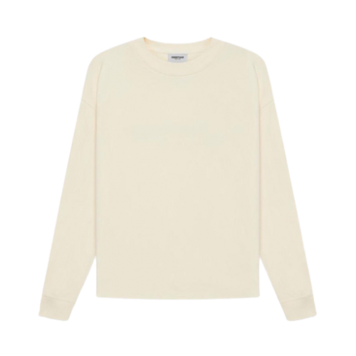 Fear Of God Essentials 3D Silicon Applique Boxy Long Sleeve Cream T-Shirt 2021