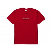 Supreme Swarovski Box Logo Tee Red