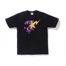 Bapesta Purple Logo Camo Tee