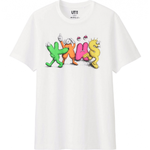 Kaws x Uniqlo Dancing Letters White Tee