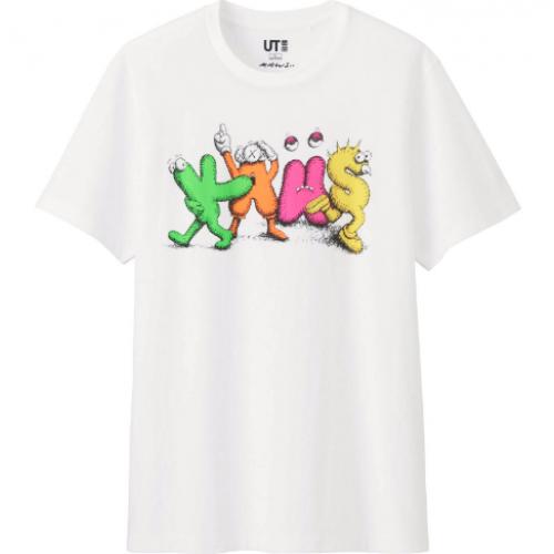 Kaws x Uniqlo Dancing Letters White Tee