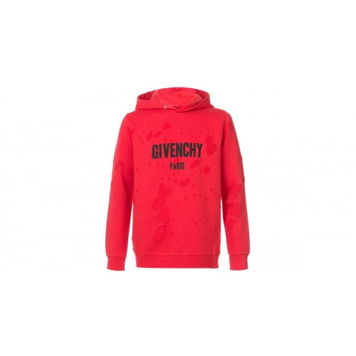 Givenchy Red Distressed Hoodie