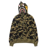 Bape Shark Full Zipped Hoodie Green