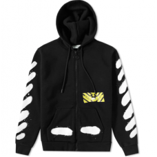 Off-white Diagonal Spray Zipped Hoodie