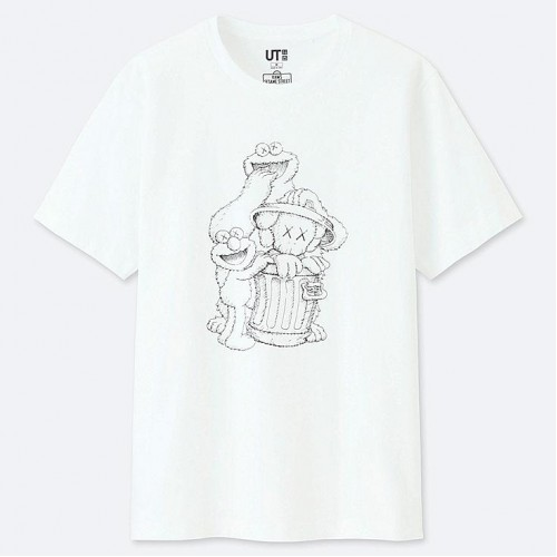 Uniqlo Kaws X Sesame Street Graphic White Tee