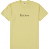 Supreme KAWS Chalk Logo Tee Pale Yellow