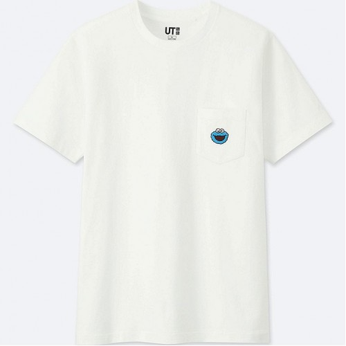 KAWS x Uniqlo Sesame Street Pocket White