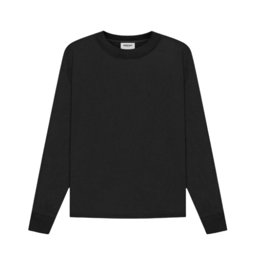 Fear Of God Essentials 3D Silicon Applique Boxy Long Sleeve Black T-Shirt 2021